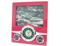 RETRO CLOCK WEATHER FRAME RED