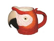 MACAW HEAD MUG RED