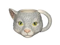 BLUE CAT HEAD MUG