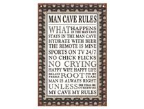 METAL PLAQUE - MAN CAVE RULES #2