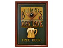 WALL PLAQUE MAN CAVE - BILLARDS