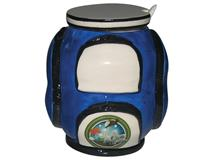 GOLF SUGAR BOWL W LID N SPOON BLUE