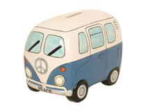 PEACE CAMPERVAN MONEY BOX BLUE