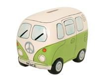 PEACE CAMPERVAN MONEY BOX GREEN