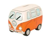 PEACE CAMPERVAN MONEY BOX ORANGE