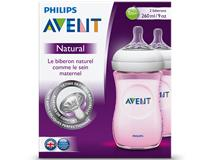 NATURAL 260ML PINK BOTTLE 2PK